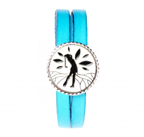 Bracelet double tour cuir bleu Siriya – Missteegreen